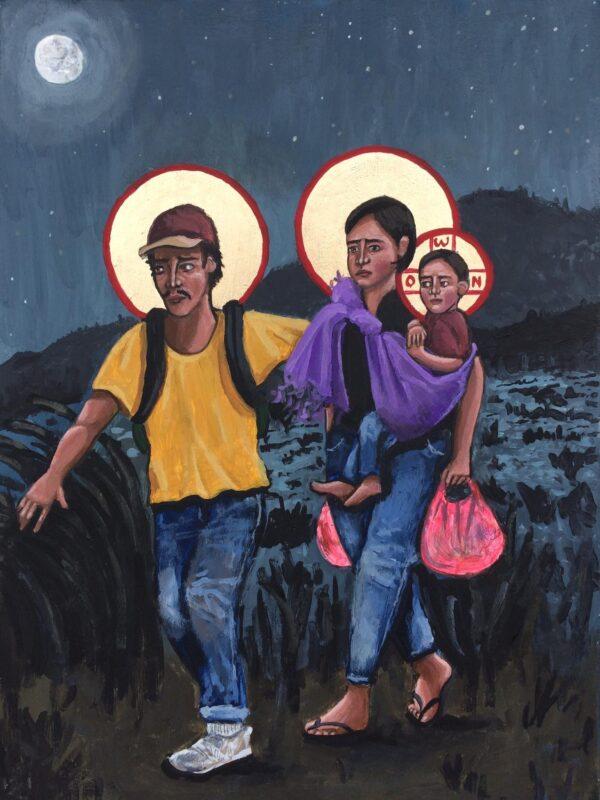 Maria als dakloze vrouw